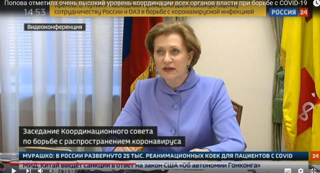 Anna Popova espone i dati coronavirus alla conferenza online con il Presidente del Consiglio della Russia