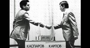 Kasparov e Karpov alla sfida mondiale di Mosca nel 1985