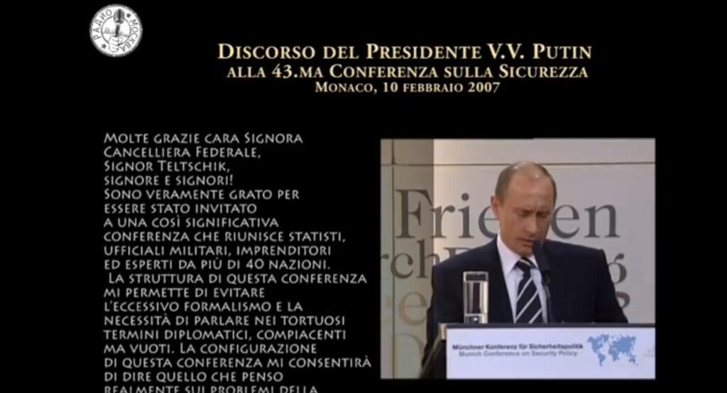 Putin alla conferenza di Monaco del 2007